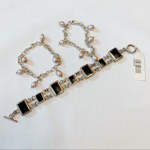 Jewelry - .925 Sterling Silver Onyx Pearl Bracelet Bundle